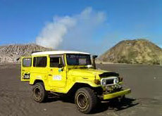 A Jeep in the lunarlike landscape of Mt. Bromo
