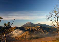 View over Mt. Bromo and its landscape - mount Bromo and mount Ijen tour in East Java