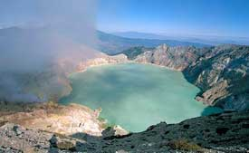 The greenblue-ish Ijen crater lake in East Java