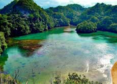 The blue lagoon Segara Anakan at Sempu island - south of Malang