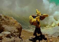 A sulphur miner at work at Ijen crater lake - East Java