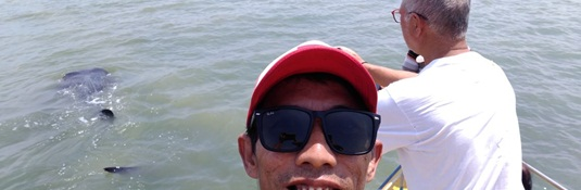Tutul shark in the background of this Selfie - Bentar beach, Probolinggo, East Java
