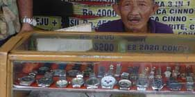 Mr. Robert selling watches - Kampong Klojen, Malang