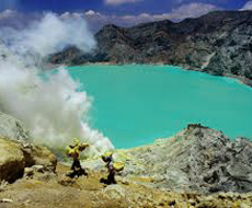 Ijen crater lake in East Java - Banyuwangi