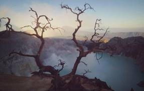 Early morning. Sunrise at Ijen crater lake. East Java, Indonesia
