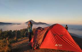 Camping during the tour 'Travel from Jakarta to Bromo and back'