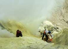Sulphur miners at work - Ijen crater lake, East Java