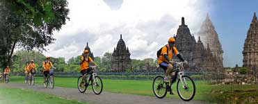 Cycle in the area around the Prambanan - Java, Indonesia